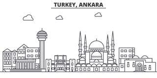 Ligne illustration d'architecture de la Turquie, Ankara d'horizon Paysage urbain linéaire de vecteur avec les points de repère cé Photos stock