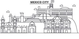 Ligne illustration d'architecture de Mexico d'horizon Paysage urbain linéaire de vecteur avec les points de repère célèbres, vues illustration de vecteur