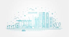 Ligne illustration d'architecture de Singapour d'horizon Paysage urbain lin?aire de vecteur avec les points de rep?re c?l?bres illustration stock