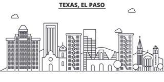 Ligne illustration d'architecture de Texas El Paso d'horizon Paysage urbain linéaire de vecteur avec les points de repère célèbre Photos stock