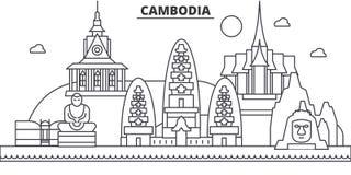 Ligne illustration d'architecture du Cambodge d'horizon Paysage urbain linéaire de vecteur avec les points de repère célèbres, vu Photographie stock