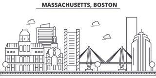 Ligne illustration d'architecture du Massachusetts, Boston d'horizon Paysage urbain linéaire de vecteur avec les points de repère Photographie stock libre de droits