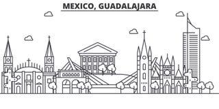 Ligne illustration d'architecture du Mexique, Guadalajara d'horizon Paysage urbain linéaire de vecteur avec les points de repère  Photos stock