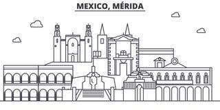 Ligne illustration d'architecture du Mexique, Mérida d'horizon Paysage urbain linéaire de vecteur avec les points de repère célèb illustration stock