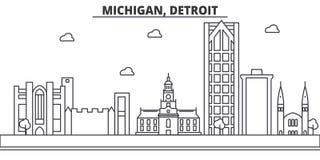 Ligne illustration d'architecture du Michigan, Detroit d'horizon Paysage urbain linéaire de vecteur avec les points de repère cél illustration de vecteur