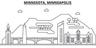 Ligne illustration d'architecture du Minnesota, Minneapolis d'horizon Paysage urbain linéaire de vecteur avec les points de repèr illustration libre de droits
