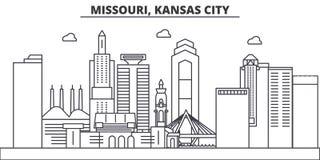 Ligne illustration d'architecture du Missouri, Kansas City d'horizon Paysage urbain linéaire de vecteur avec les points de repère Photographie stock