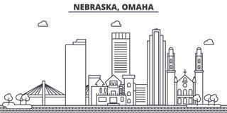 Ligne illustration d'architecture du Nébraska, Omaha d'horizon Paysage urbain linéaire de vecteur avec les points de repère célèb Photographie stock libre de droits