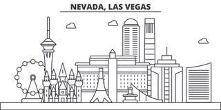 Ligne illustration d'architecture du Nevada, Las Vegas d'horizon Paysage urbain linéaire de vecteur avec les points de repère cél illustration libre de droits