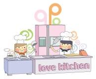Ligne illustration de chef de cuisine de restaurant de caractère Photo libre de droits