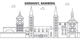 Ligne illustration de l'Allemagne, Bamberg de vecteur d'horizon L'Allemagne, paysage urbain linéaire de Bamberg avec les points d illustration de vecteur