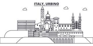 Ligne illustration de l'Italie, Urbino de vecteur d'horizon L'Italie, paysage urbain linéaire d'Urbino avec les points de repère  illustration de vecteur