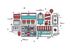 Ligne illustration de marchandises d'achats de style Image libre de droits