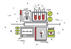 Ligne illustration de matériel médical de style illustration stock