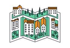 Ligne illustration de plan de ville de style Photo stock