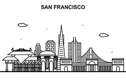 Ligne illustration de San Francisco City Tour Cityscape Skyline d'ensemble illustration de vecteur
