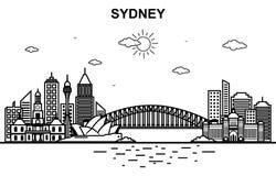 Ligne illustration de Sydney City Australia Cityscape Skyline d'ensemble illustration stock