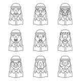 Ligne illustration de vecteur réglée par icônes de caractère d'Art Avatars Arab Businessman Design Photo libre de droits