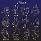 Ligne illustration de zodiaque de bande dessinée de symbole de signe Illustration Stock