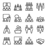 Ligne illustration réglée de réunion et de conférence de vecteur d'icône Photos stock