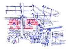 Ligne intérieure dessin de café de café de main Images libres de droits