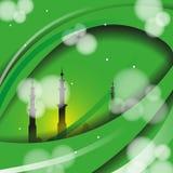 Ligne islamique de conception de salutation de Ramadan Kareem dôme de mosquée avec le modèle arabe Photos libres de droits