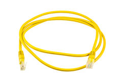 Ligne jaune d'Ethernet Photographie stock