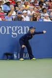 Ligne juge pendant le match à l'US Open 2014 chez Billie Jean King National Tennis Center Photos libres de droits