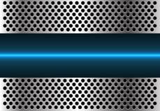 Ligne légère bleue abstraite technologie dans le vecteur futuriste moderne de fond de conception de maille de cercle en métal illustration stock