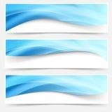 Ligne légère bleue collection de titres de bas de page d'en-têtes Images stock