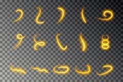 Ligne légère collection d'effet, vecteur d'or d'écoulement Ensemble léger rougeoyant de trace du feu Remous magique TR de scintil illustration libre de droits