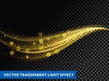 Ligne légère ligne de vague de scintillement de lumière d'effet d'or avec les particules de scintillement illustration de vecteur