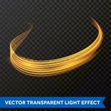 Ligne légère effet de remous d'or Trace de fusée du feu de lumière de scintillement de vecteur illustration stock