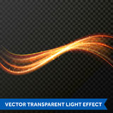 Ligne légère effet de remous d'or Trace de fusée du feu de lumière de scintillement de vecteur illustration libre de droits