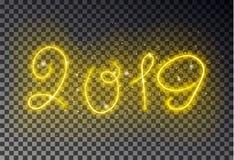 Ligne légère heureuse de la nouvelle année 2019 avec l'effet jaune magique rougeoyant de couleur de la poussière d'étincelle d'is illustration de vecteur