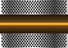 Ligne légère jaune abstraite technologie dans le vecteur futuriste moderne de fond de conception de maille de cercle en métal Images stock