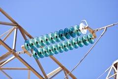 Ligne électrique d'isolant électrique à haute tension Image stock