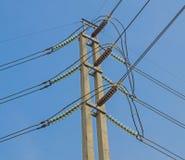 Ligne électrique d'isolant électrique à haute tension Images stock