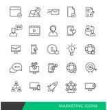 Ligne linéaire de commercialisation icônes Photo stock