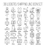 Ligne logistique ensemble d'icône Photo stock