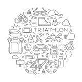 Ligne logo et icônes de triathlon Label et insigne de sport de vecteur pour Image libre de droits