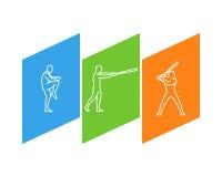 Ligne logo pour le base-ball et le chiffre joueur de baseball Photo libre de droits