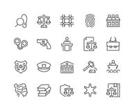 Ligne loi et juge Icons Illustration Libre de Droits