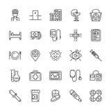 Ligne médicale icônes Éléments de vecteur Image stock