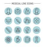Ligne médicale icônes Images stock