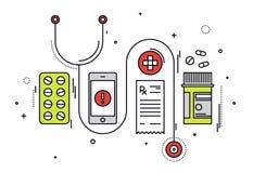 Ligne médicale illustration de diagnostics de style illustration stock