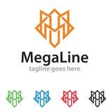 Ligne méga Logo Template Design Vector Images libres de droits