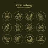 Ligne magique africaine et américaine icônes de vaudou de vecteur illustration libre de droits