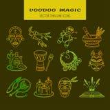 Ligne magique africaine et américaine icônes de vaudou de vecteur illustration de vecteur