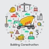 Ligne mince Art Icons Set de construction de bâtiments Photo stock